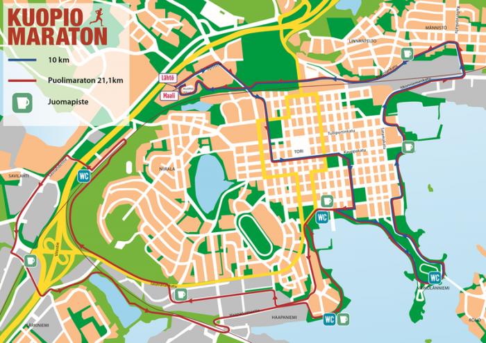 Kuopio Maratonin reittikartta (lähde www.kuopiomaraton.fi)